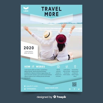 Travel flyer vibrant template with photo