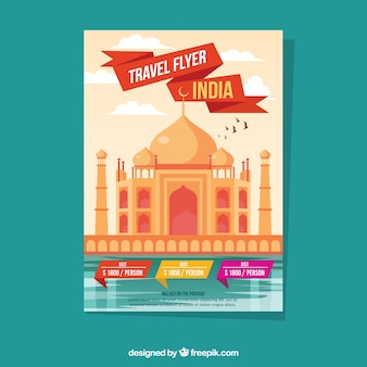 Travel flyer with destinations in flat style