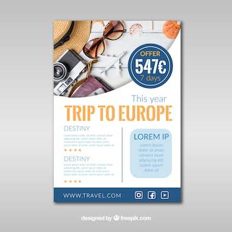 Travel flyer with elements photography