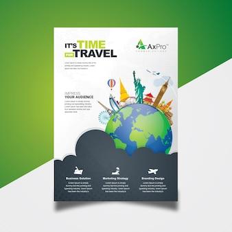Travel flyer with world skyline elements