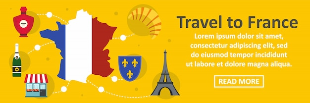 Travel to france banner horizontal concept
