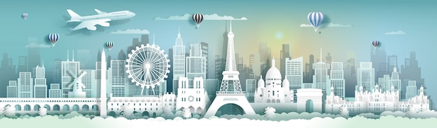 Travel france famous landmarks of the world with cityscape