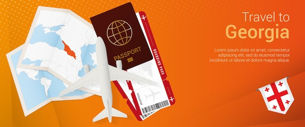 Travel to georgia pop-under banner. trip banner with passport, tickets, airplane, boarding pass, map and flag of georgia.