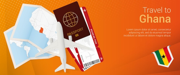 Travel to ghana pop-under banner. trip banner with passport, tickets, airplane, boarding pass, map and flag of ghana.