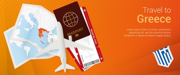 Travel to greece popunder banner trip banner with passport tickets airplane boarding pass
