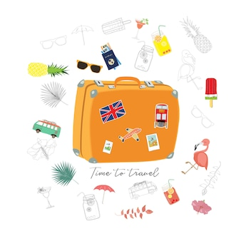 Travel greeting card with luggage, van, passport, airplane, flamingo, flower and ice cream