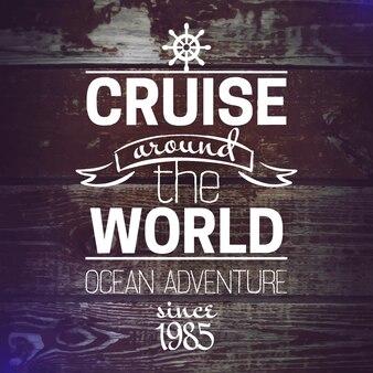 旅行グランジ背景。海の航海のデザイン。手描きのテクスチャスケッチベクトルイラスト。活版印刷のデザイン