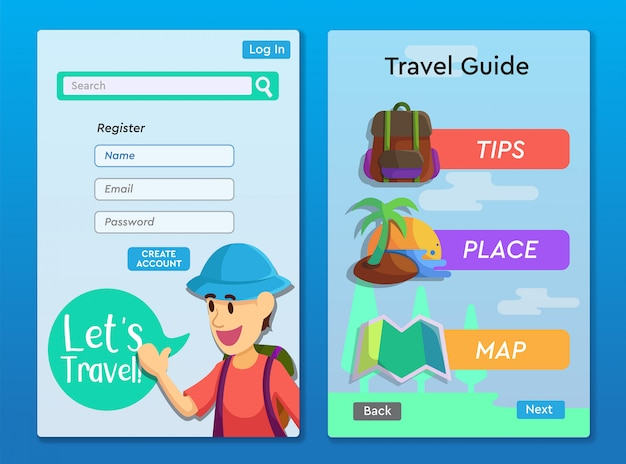 Travel guide app layout design