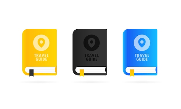 Travel guide book icon set or world map and pin in cover, vector