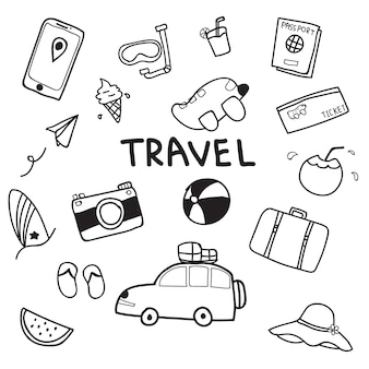 旅行の手は、白い背景に落書きベクトルデザインを描いた。