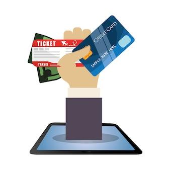 Travel hand hold credit card ticket money dollar
