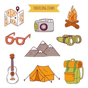 Travel hand rawn elements