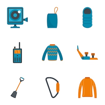 Travel hiking icon set, flat style