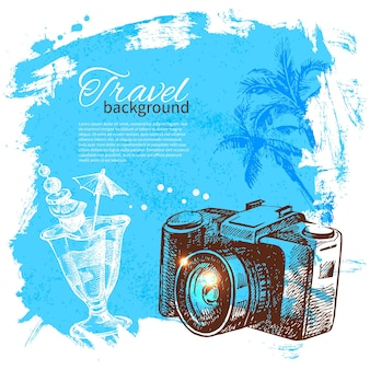 Travel and holiday background. hand drawn sketch illustration