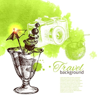 Travel and holiday background. hand drawn sketch watercolor illustration