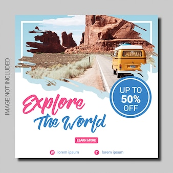 Travel holiday social media post square banner template