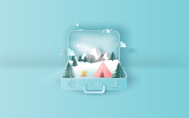 Travel holiday tent camping trip winter suitcase