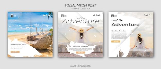 Путешествие, отпуск, отпуск, социальные сети, пост веб-баннер