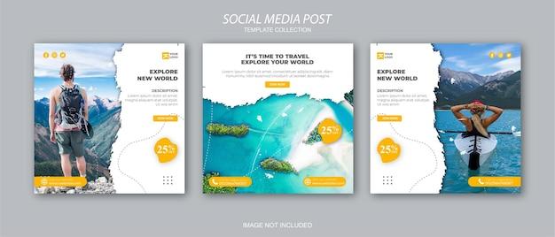 Travel holiday vacation social media post web banner