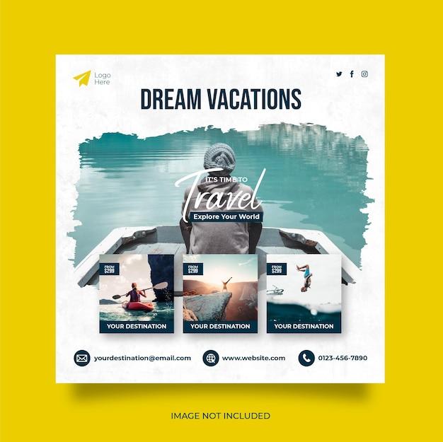 Путешествие, отдых, отпуск, социальные сети, публикация веб-баннера