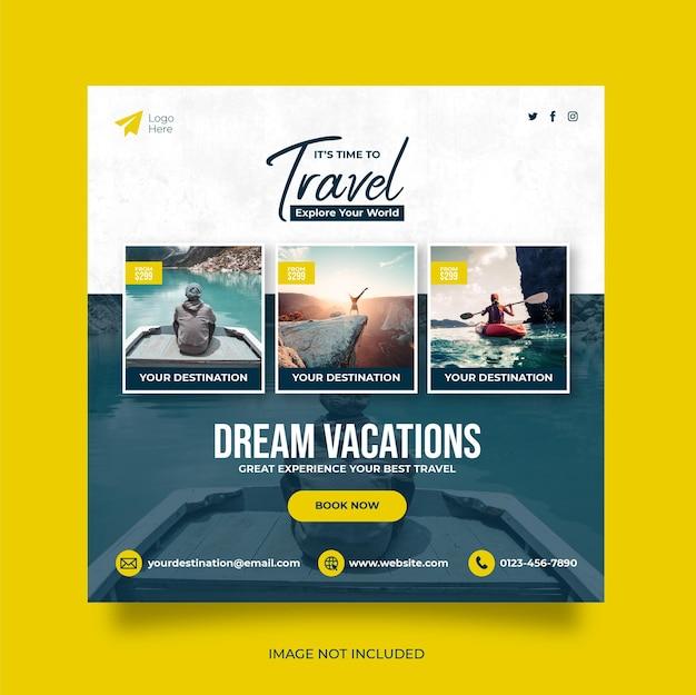 旅行休暇休暇ソーシャルメディア投稿ウェブバナー