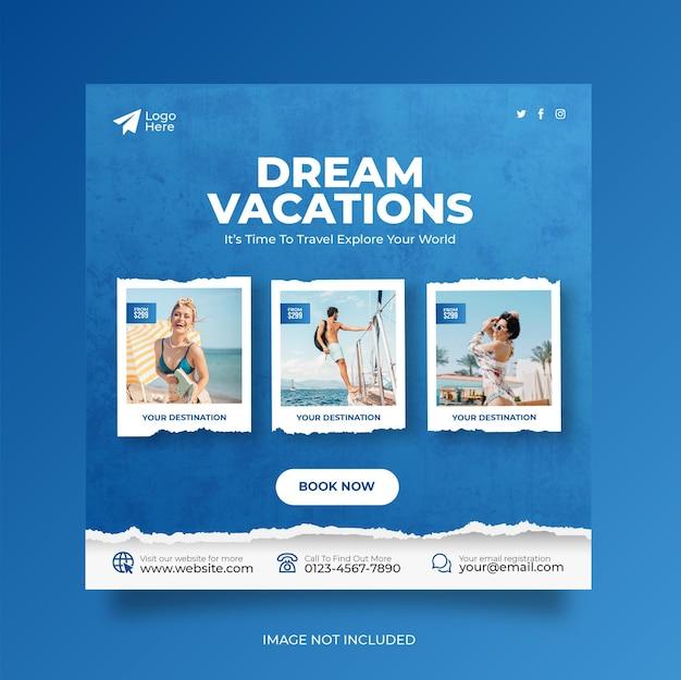 Путешествие, отпуск, отпуск, социальные сети, публикация веб-баннера