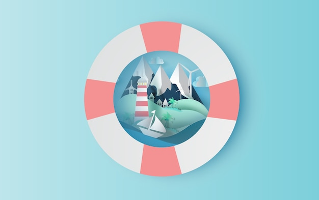 Travel in holiday with swim ring concept