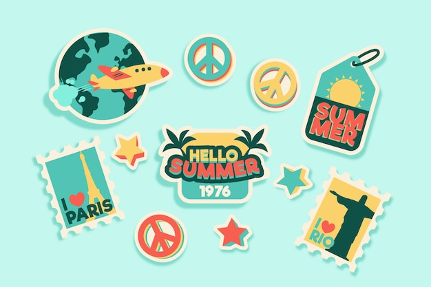Travel/holidays sticker pack in 70s style