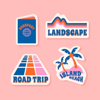 Travel/holidays sticker set in 70s style