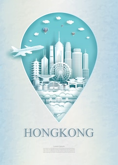 Travel hong kong architecture monument pin of asia.