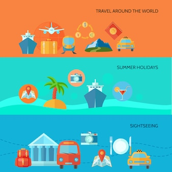 Travel horizontal banner set