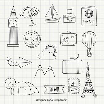 Travel icon doodles Premium Vector