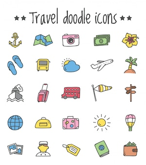 Travel icon set in doodle style