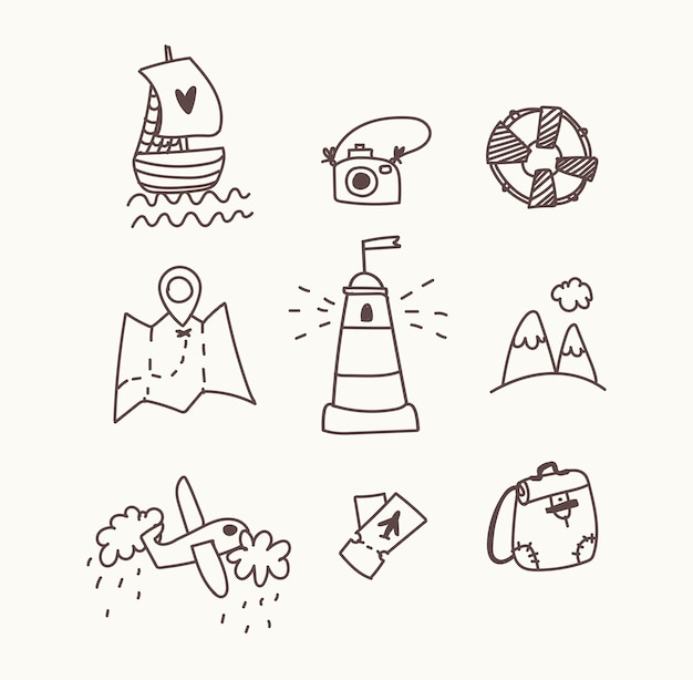 Travel icon set. hand draw