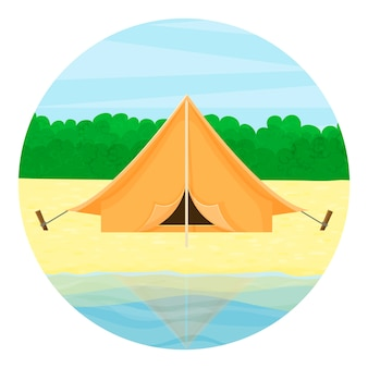 Travel icon. tourist tent on the lake, against the background of the forest. summer landscape.