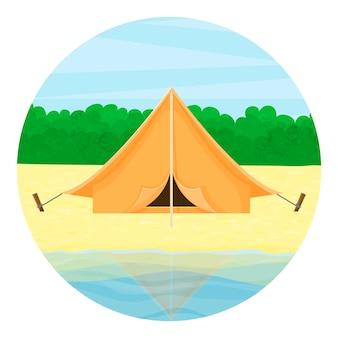 Значок путешествия. туристическая палатка на озере, на фоне леса. летний пейзаж.