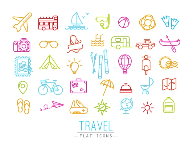 Travel icons drawing in flat modern style with color lines.