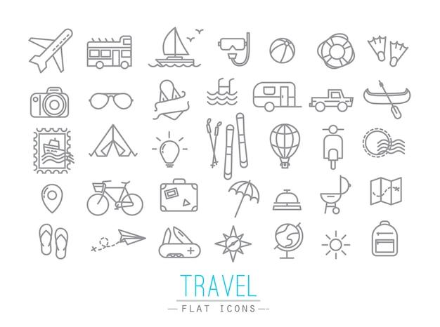 灰色の線でフラットなモダンなスタイルで描く旅行アイコン
