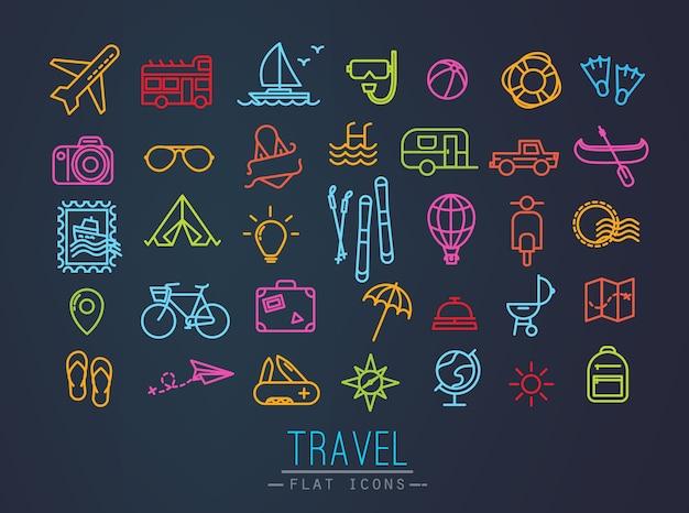 ネオンラインとフラットモダンスタイルで描画する旅行のアイコン