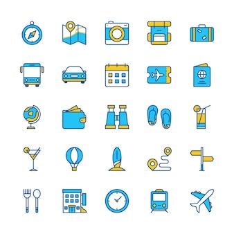 Travel icons set blue orange web app trip compass ticket bus train hotel