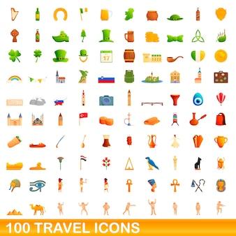 Набор иконок путешествия. карикатура иллюстрации иконок путешествия на белом фоне