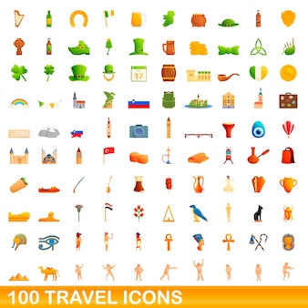Travel icons set. cartoon illustration of  travel icons  set  on white background
