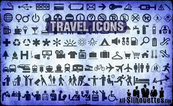Travel Icons Silhouettes