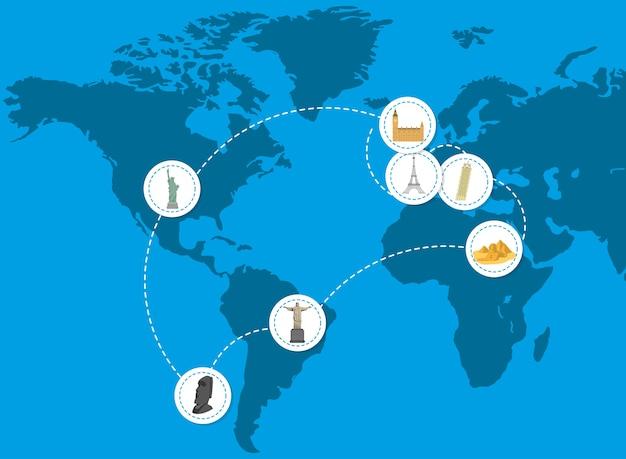Travel icons on world