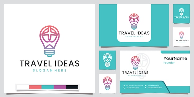 Travel ideas destination with line art beautiful color logo design inspiration