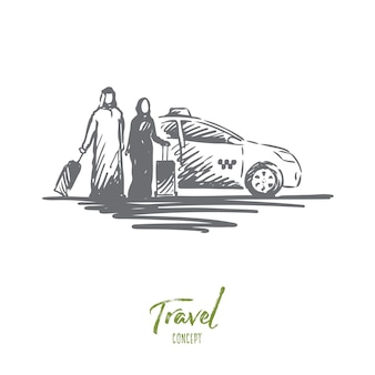 Travel illustration in hand drawn