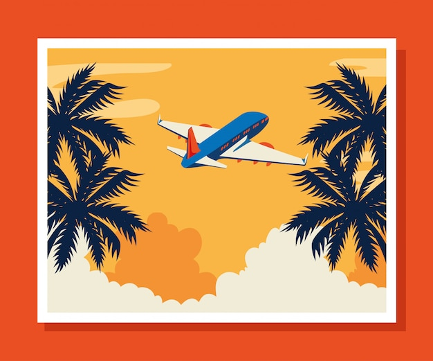 Travel illustration with airplane flying and tree palms