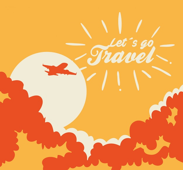 Travel illustration with airplane flying