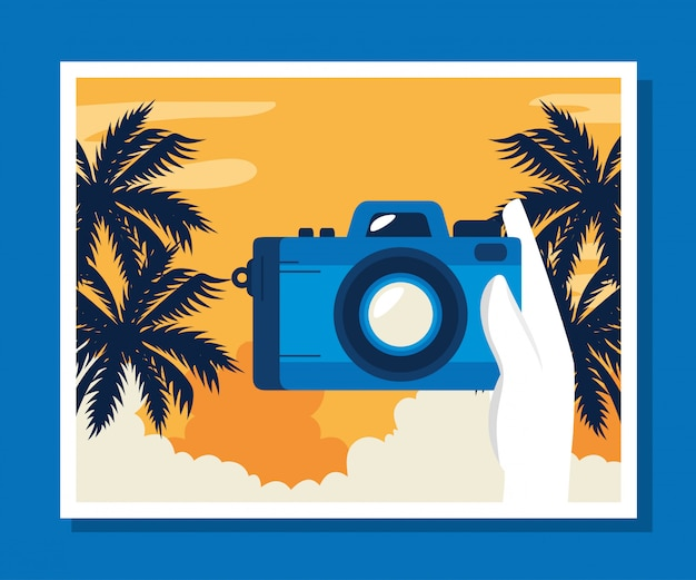 Travel illustration with camera and palms tree