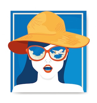 Travel illustration with face of woman with hat